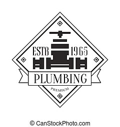 Premium Plumbing Repair and Renovation Service Black And White Sign Design Template With Text And Water Pipe