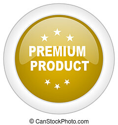 premium product icon, golden round glossy button, web and mobile app design illustration