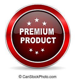 premium product red circle glossy web icon, round button with metallic border