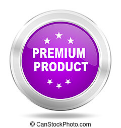 premium product round glossy pink silver metallic icon, modern design web element