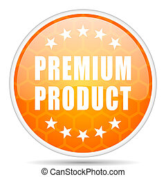 Premium product web icon. Round orange glossy internet button for webdesign.