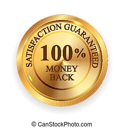 Premium Quality 100% Money Back Golden Medal Icon Seal  Sign Isolated on White Background. Vector Illustration