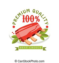 Premium quality, 100 percent, best choice logo template design, badge for meat store, butcher shop, farmer market, restaurant, cafe, packaging colorful vector Illustration