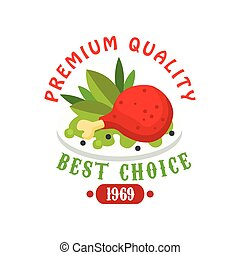 Premium quality 1969, fresh food logo template, badge for...