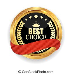 Premium Quality Best Choice Golden Medal Icon Seal  Sign Isolated on White Background. Vector Illustration