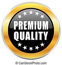 Premium quality black web icon with golden border isolated on white background. Round glossy button.