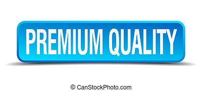 premium quality blue 3d realistic square isolated button