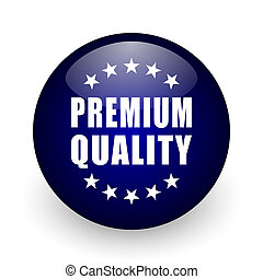 Premium quality blue glossy ball web icon on white background. Round 3d render button.