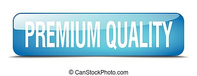 premium quality blue square 3d realistic isolated web button