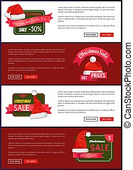 Premium Quality Christmas Sale Web Banners Buttons