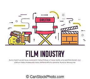 Premium quality cinema industry thin line design set. Filming minimalistic symbol infographic. Outline movie technology template of icon, typography, logo, pictogram and illustration concept