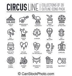 Premium quality circus outline icons collection set.  Festival linear symbol pack. Modern show template of thin line icons, logo, symbols, pictogram and flat