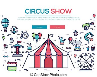 Premium quality circus outline icons collection set.  Festival linear symbol pack. Modern show template of thin line icons, logo, symbols, pictogram and flat illustrations