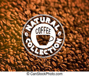 Premium quality coffee typography on blur background.