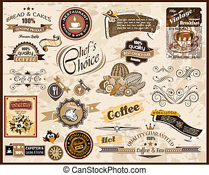 Premium quality collection of Vintage Restaurant, Coffee and food & co labels with different styles and space for text.