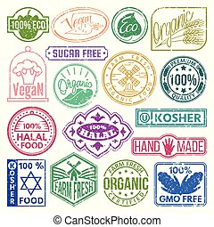 Premium quality eco vegan stamp logo product mark retro grunge badges collection best label vintage tag vector illustration.
