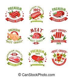Premium quality fresh meat logo templates set, best choice since 1969 badge vector Illustrations