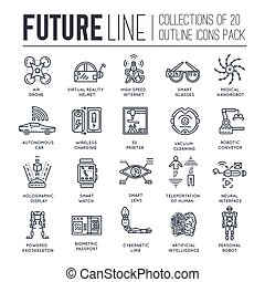 Premium quality future thin line ollection  set. Tomorrow minimalistic symbol pack. Modern technology template of icons, typography, logo, pictogram and illustrations