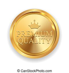 Premium Quality Golden Medal Icon Seal  Sign Isolated on White Background. Vector Illustration