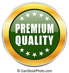 Premium quality green glossy round icon with golden chrome metallic border isolated on white background for web and mobile apps designers.