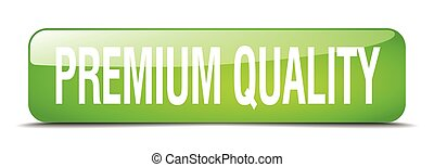 premium quality green square 3d realistic isolated web button