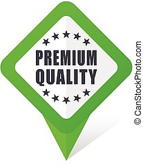 Premium quality green square pointer web and mobile phone vector icon in eps 10 on white background with shadow