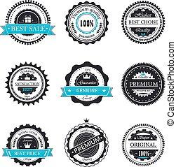 Premium quality, guarantee badges