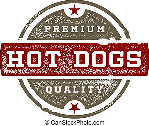 Premium Quality Hot Dogs - Vintage style Hot Dogs Sign