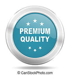 premium quality icon, blue round glossy metallic button, web and mobile app design illustration
