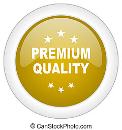 premium quality icon, golden round glossy button, web and mobile app design illustration