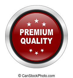 premium quality icon, red round button isolated on white background, web design illustration