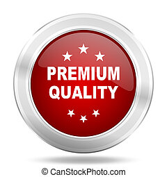 premium quality icon, red round glossy metallic button, web and mobile app design illustration
