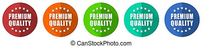 Premium quality icon set, red, blue, green and orange flat design web buttons isolated on white background, vector illustration