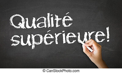 Premium Quality (In French) - A person drawing and pointing...