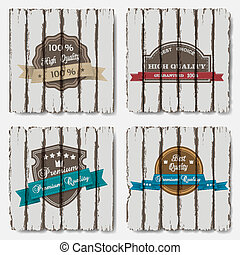 Premium Quality Labels on old wood background