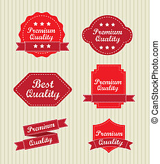 premium quality labels over beige background. vector