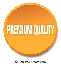 premium quality orange round flat isolated push button