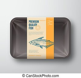 Premium Quality Pangasius. Abstract Vector Fish Plastic Tray...