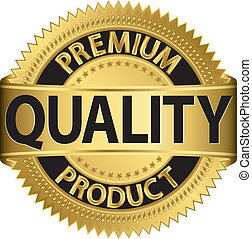 Premium quality product golden label, vector illustration