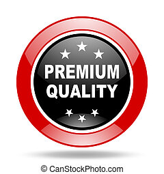 premium quality red and black web glossy round icon