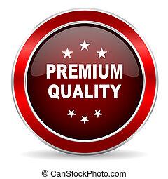 premium quality red circle glossy web icon, round button with metallic border