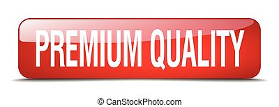 premium quality red square 3d realistic isolated web button