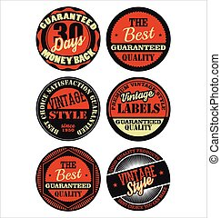 Premium Quality retro badges collection black and orange set 2.eps