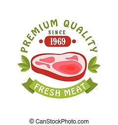 Premium quality since 1969, fresh meat logo template design,...