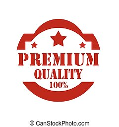 Red stamp with text Premium Quality, vector illustration