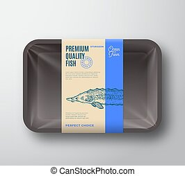 Premium Quality Sturgeon. Abstract Vector Fish Plastic Tray...