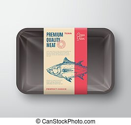 Premium Quality Tuna Pack. Abstract Vector Fish Plastic Tray Container with Cellophane Cover. Packaging Design Label. Modern Typography and Hand Drawn Tuna Silhouette Background Layout.