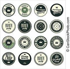 Premium quality vintage badges green set