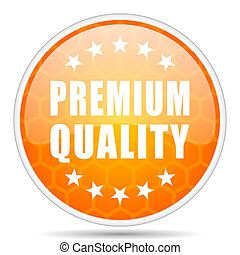 Premium quality web icon. Round orange glossy internet button for webdesign.