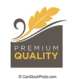 Premium quality whole grain logo with ears of wheat symbol
